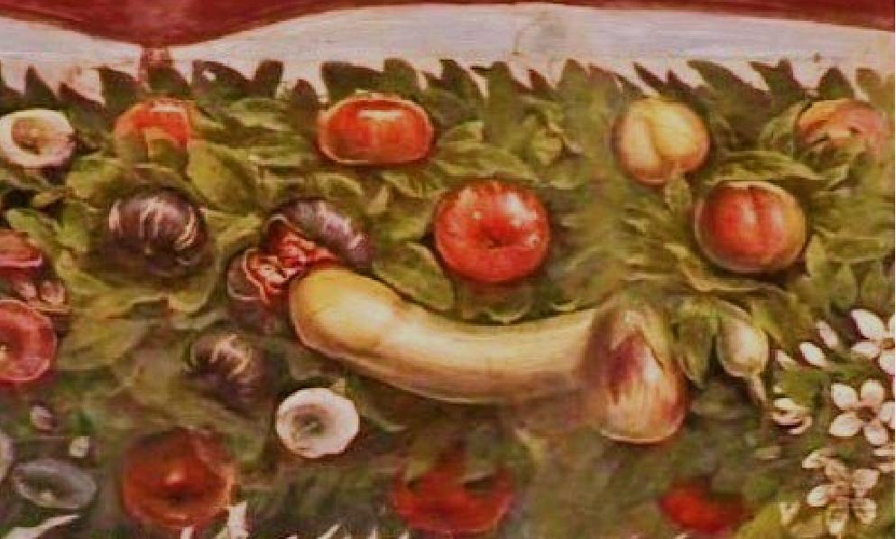 Giovanni da Udine, Decorazioni vegetali, particolare dellza zucca e del fioco, 1517-1518, affresco, Rona, Villa Farnesina, Loggia di Psiche