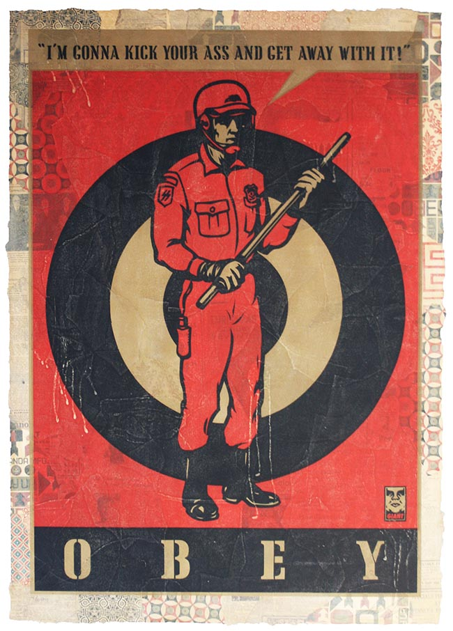 "Shepard Fairey, ""Kick your ass"", 2009 Hand painted on paper Cm 100 x 70"