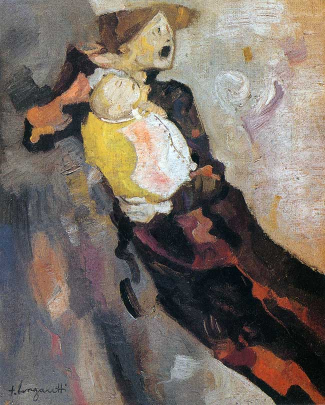 Trento Longaretti, Dramma di una madre, olio su tela, 60x50 cm, 1976