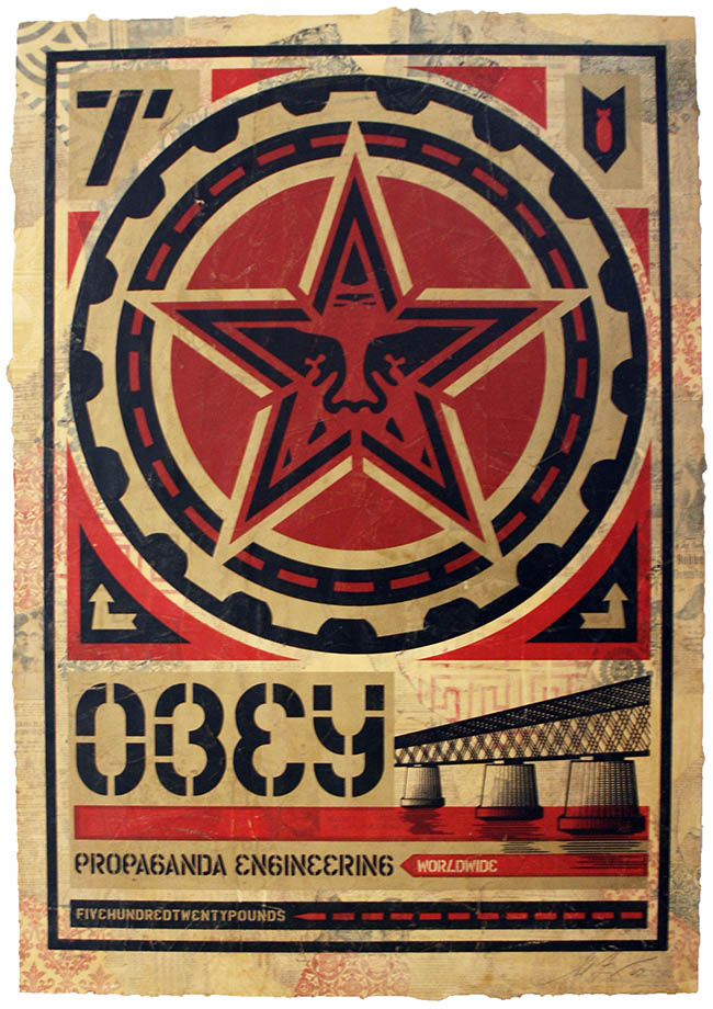 "Shepard Fairey, ""Engineering"", 2009 Hand painted on paper Cm 100 x 70"