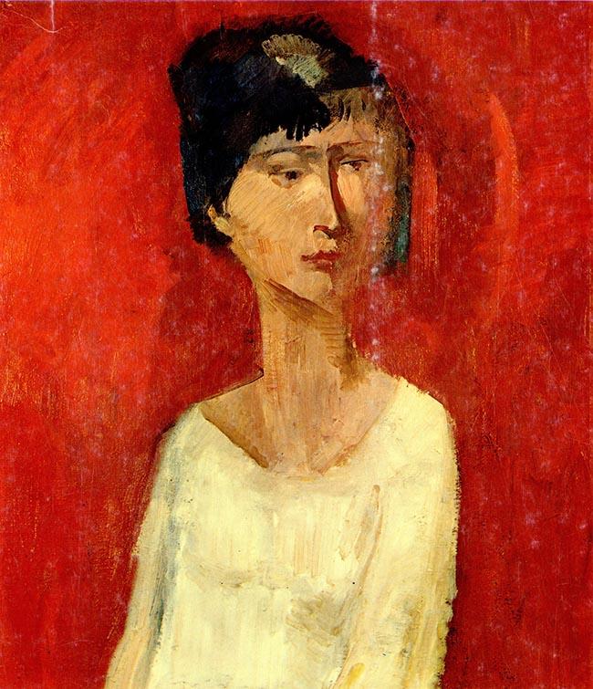 Trento Longaretti, Donna su fondo rosso, olio su tela, 70x50 cm, 1959