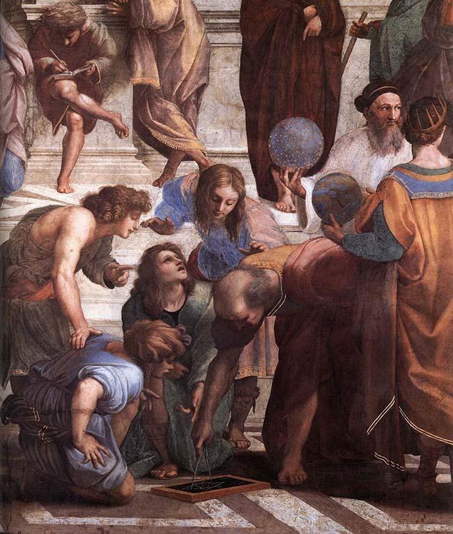 """Raffaello Sanzio (1483- 1520) Particolare dell'affresco """"La scuola di Atene"""" con la rappresentazione di Donato Bramante Roma, Musei Vaticani"""