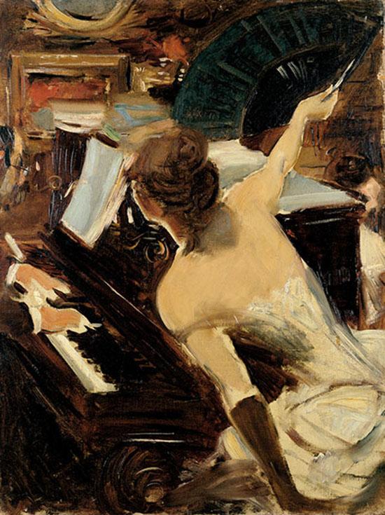Giovanni Boldini La cantante mondana, c. 1884 Olio su tela, cm 61 x 46 Collezione Fondazione Carife, in deposito presso le Gallerie d'Arte Moderna e Contemporanea di Ferrara