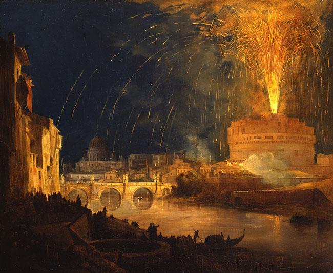 Ippolito Caffi, La girandola a Castel Sant'Angelo, olio su tela, cm 49,5x60, collezione privata