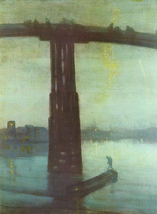 """James Abbot McNeill Whistler, """"Notturno in blu e oro: il vecchio ponte di Battersea"""""""