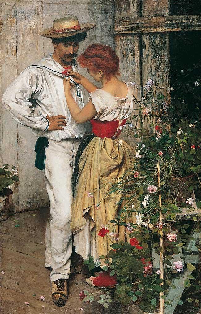 Ettore Tito, La mia rossa, 1888, olio su tela, cm 61x39,5, Fondazione Internazionale Balzan