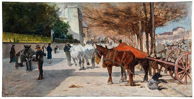 Giovanni Fattori,Viale Principe Amedeo a Firenze, 1880-1881 olio su tela, cm. 29,5x60 collezione privata