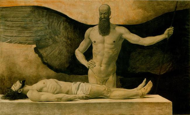 Sascha Schneider, Triumph der Finsternis (Trionfo delle tenebre), 1896, olio su tela – collezione privata