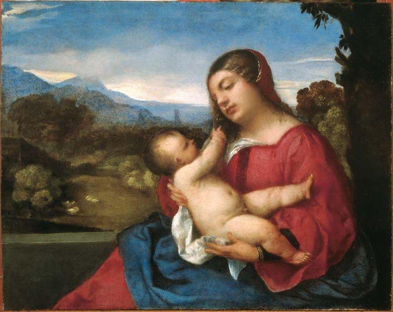 Tiziano Vecellio, Madonna Lochis, 1508-1510 circa, olio su tavola, cm 38x48 cm), Bergamo, Accademia Carrara