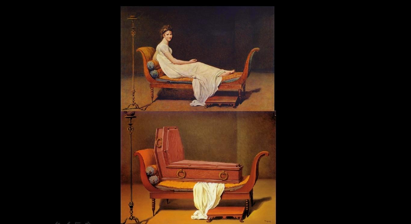 Il ritratto della Récamier dipinto da Davide, sotto, la visione surrealista di Magritte