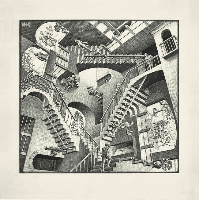 Maurits Cornelis Escher  Casa di scale (Relatività)  1951   litografia  cm 47,2 x 32,6  Collezione Federico Giudiceandrea All M.C. Escher works © 2014 The M.C.  Escher Company. All rights reserved  www.mcescher.com