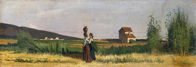 Giovanni Fattori, Acquaioli livornesi, 1865, olio su tela, cm. 38x 109.5 Collezione privata
