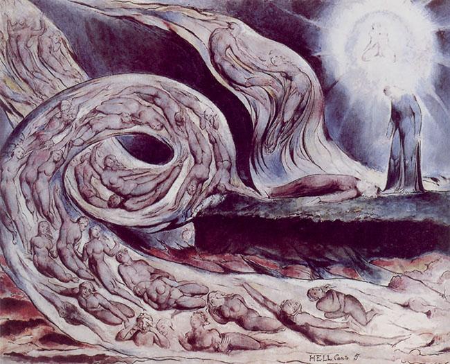 l cerchio della lussuria: Paolo e Francesca di William Blake