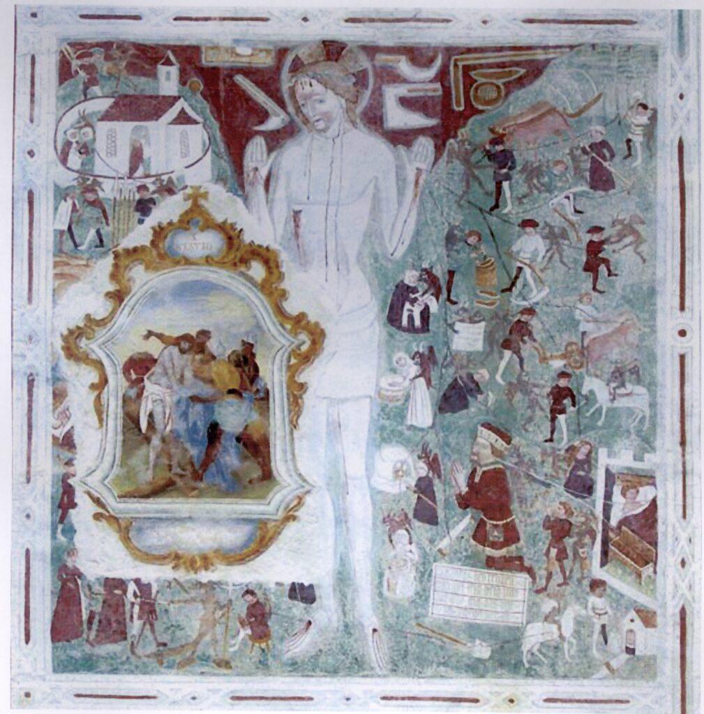 Figure umane e diavoli assediano Cristo. Ortisei