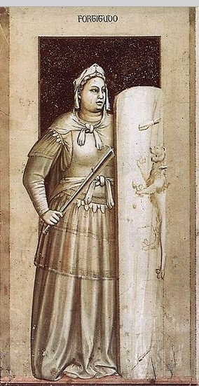 La virtù della Fortezza rappresentata da Giotto nella Cappella degli Scrovegni