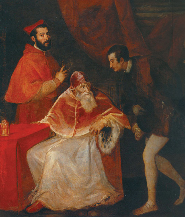 "Tiziano, ""Papa Paolo III con i nipoti"", 1546, Napoli, Capodimonte"