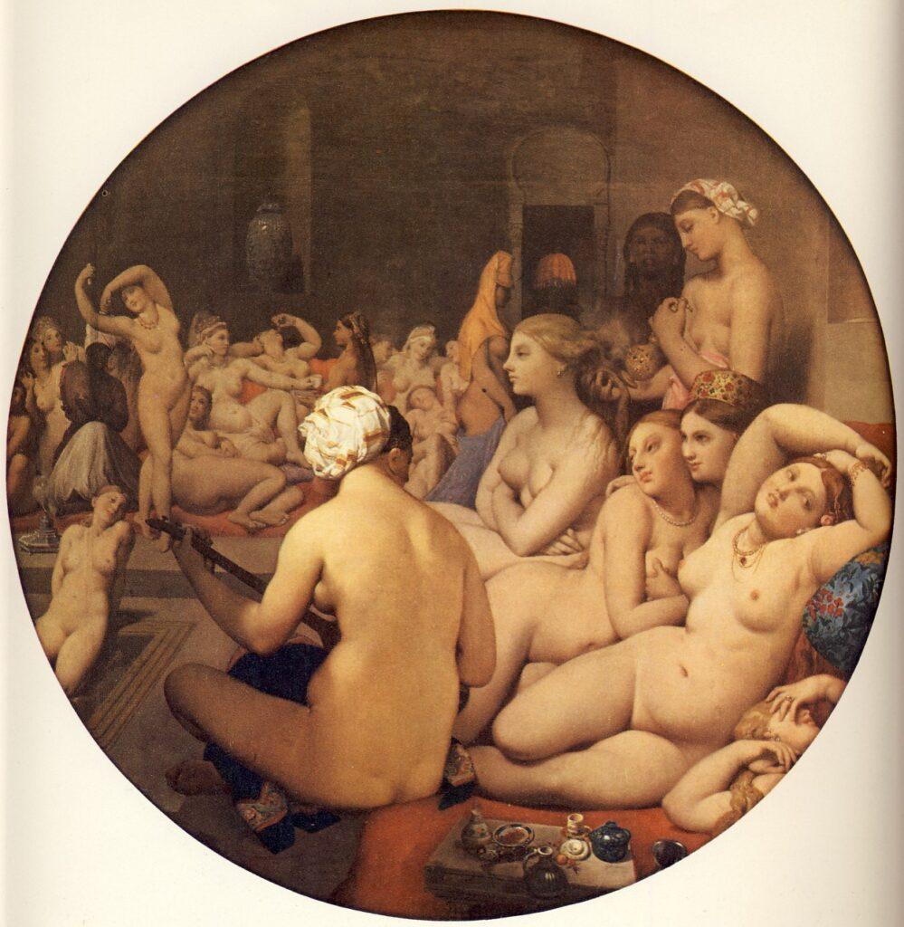 J.A.D INGRES, Il bagno turco, 1859-63, Ø cm.108, olio su tela applicata su tavola, Parigi, Museo del Louvre