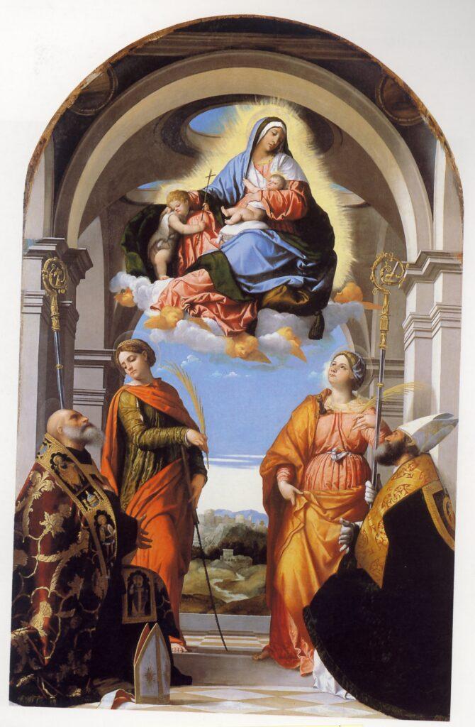 Moretto, Madonna col Bambino, san Giovanni in gloria e i santi Benedetto, Paterio, Eufemia e Giustina