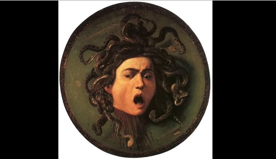 Caravaggio, Scudo con testa di Medusa, olio su tela, su supporto di uno scudo di legno di fico, 1597 circa, Firenze, Galleria degli Uffizi