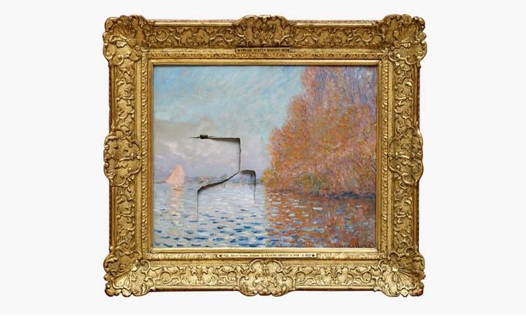 Il quadro sfondato. Claude Monet, Il bacino di Argentueil con una barca,1874, olio su tela