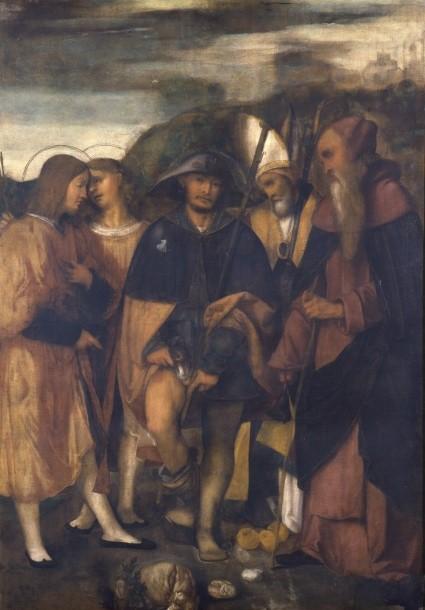 Alessandro Bonvicino, detto il Moretto (?), Pala di San Rocco. L'opera della Pinacoteca Tosio Martinengo è di complessa attribuzione. Assegnata inizialmente a Romanino è stata poi, pur con l'interrogativo, avvicinata al corpus dei dipinti del giovane Moretto