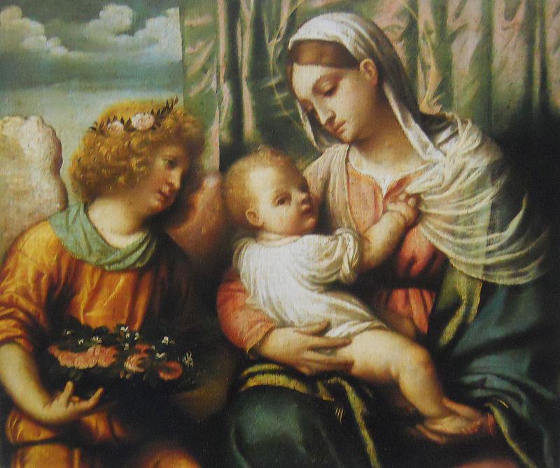 Alessandro  Bonvicino detto il Moretto, Madonna col Bambino e un angelo, 1540-1550, olio su tela, 49x57. Milano, Pinacoteca di Brera