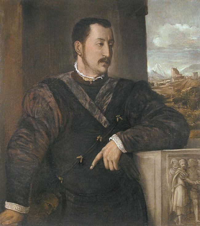 Questo dipinto - un olio su tela, 101x92 cm - di collezione privata, secondo Pietro Zampetti sarebbe stato eseguito da Tiziano (con la possibile collaborazione di allievi) e raffigurerebbe Ottavio Farnese