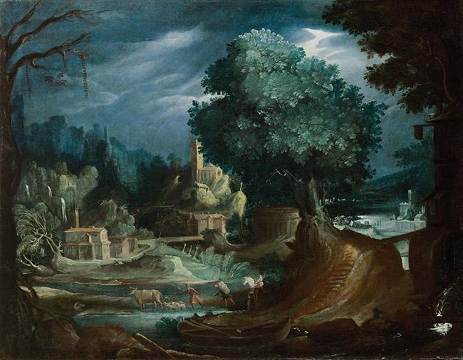 Paul Brill (Anversa, 1554 - Roma, 1626) Paesaggio con scena di caccia olio su tela, cm 52 x 65,5  Courtesy Galleria Lampronti (Londra, Roma)
