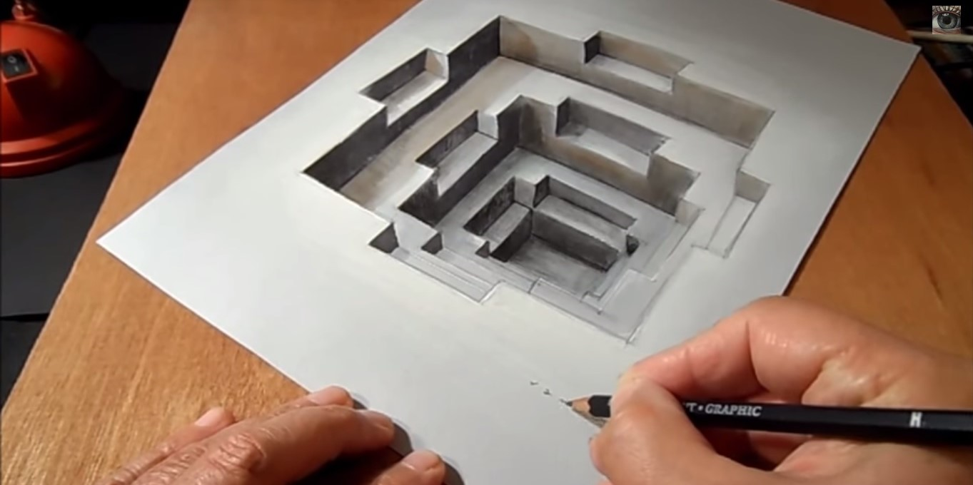 Illusioni prospettiche disegnare una sorprendente cavit for Disegni 3d facili per bambini