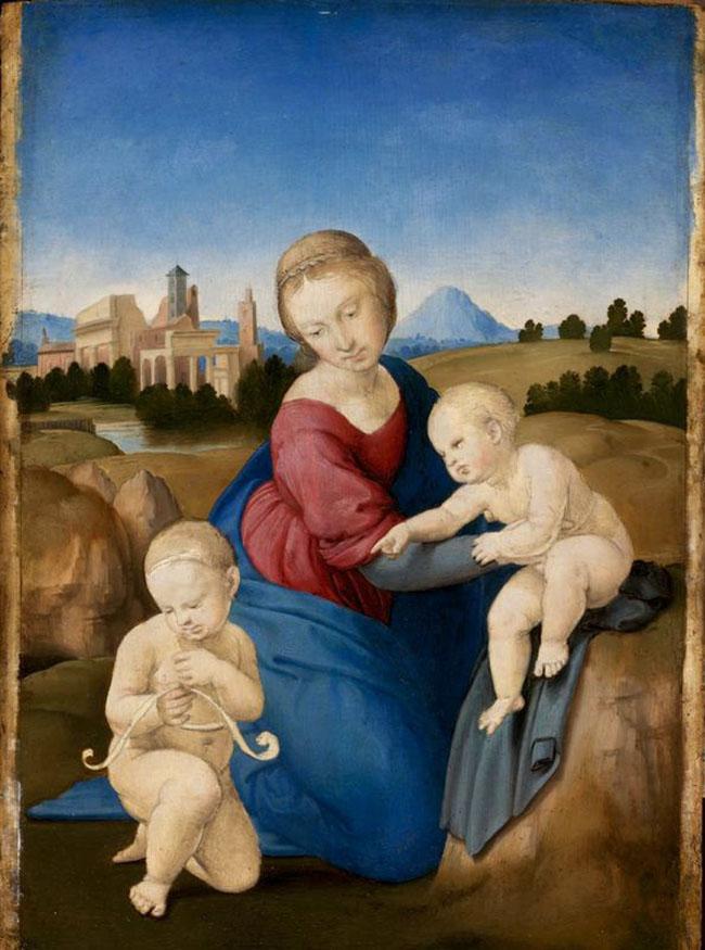 Raffaello  Madonna col Bambino e san  Giovannino (Madonna Esterházy)  circa 1508  tempera e olio su tavola, 28,5 x  21,5 cm  Budapest, Museo di Belle Arti  (Szépművészeti Múzeum)