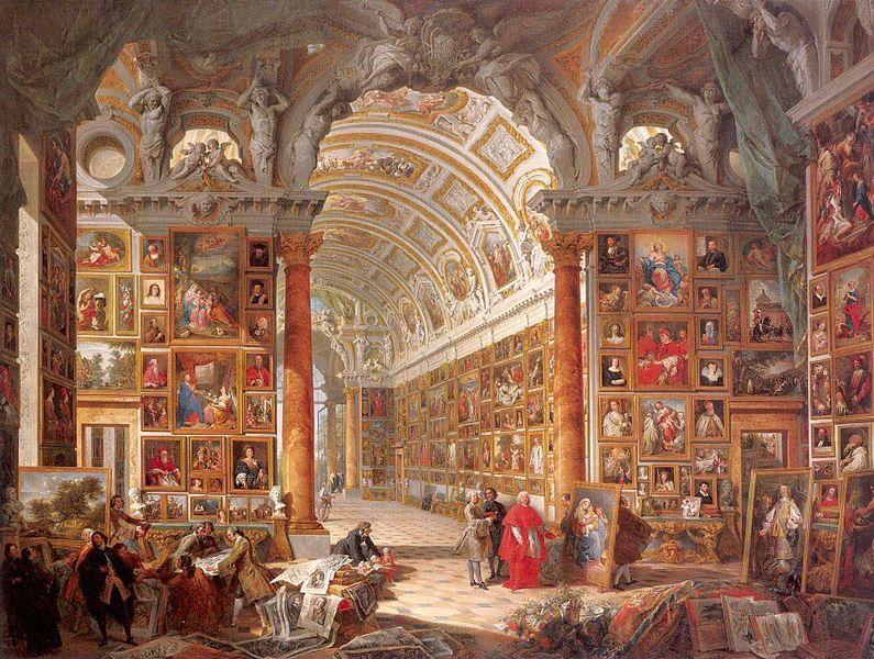 Giovanni Paolo Pannini, Pinacoteca con collezione del cardinale Silvio Valenti Gonzaga, 1740 circa