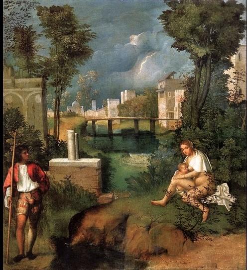 Nella tempesta di Giorgione appaiono simboli collegati alla Carità (alla nostra destra) e alla Fortezza (sinistra)