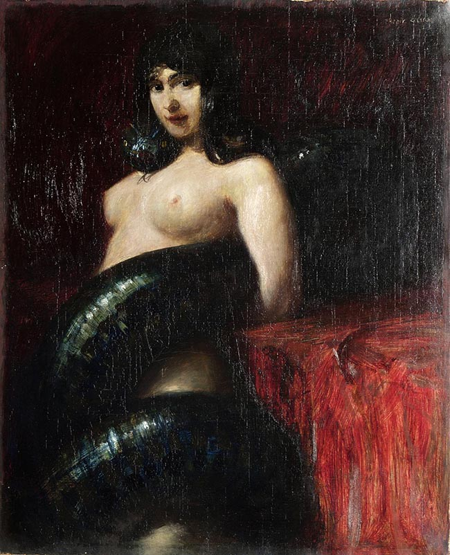 Franz von Stuck, Il Peccato, 1900 ca, olio su tela – Zagreb, Museum of Arts and Crafts