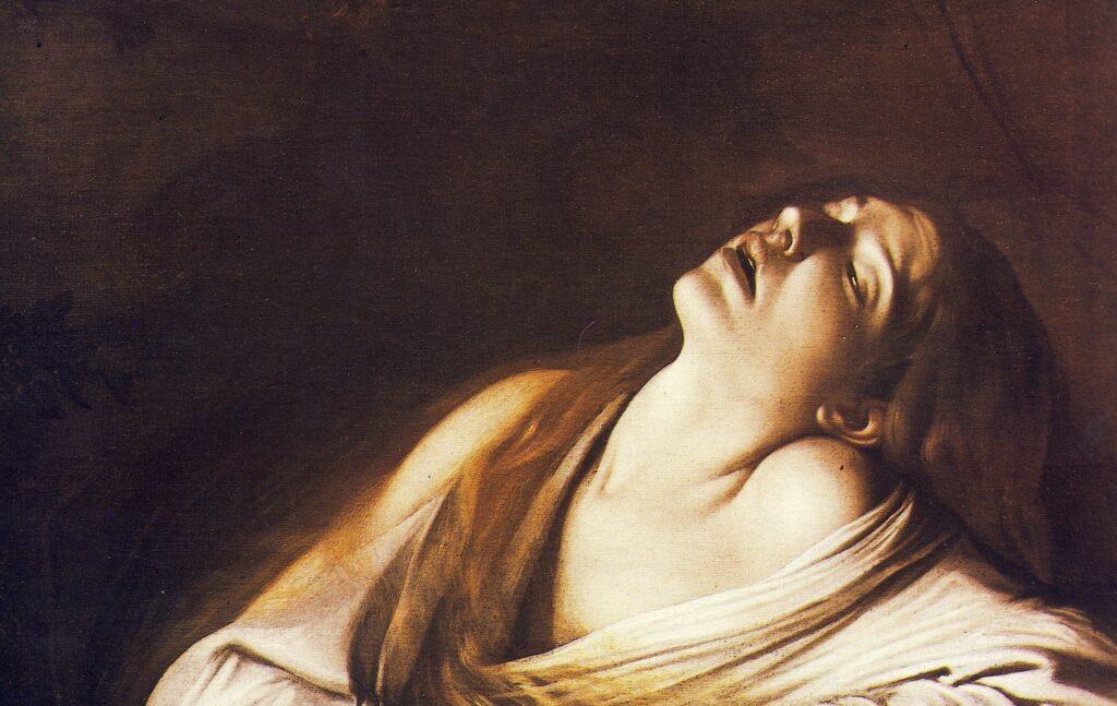 CARAVAGGIO, Maddalena in estasi, 1606, particolare,  olio su tela, cm. 106,5 x 91, collezione privata