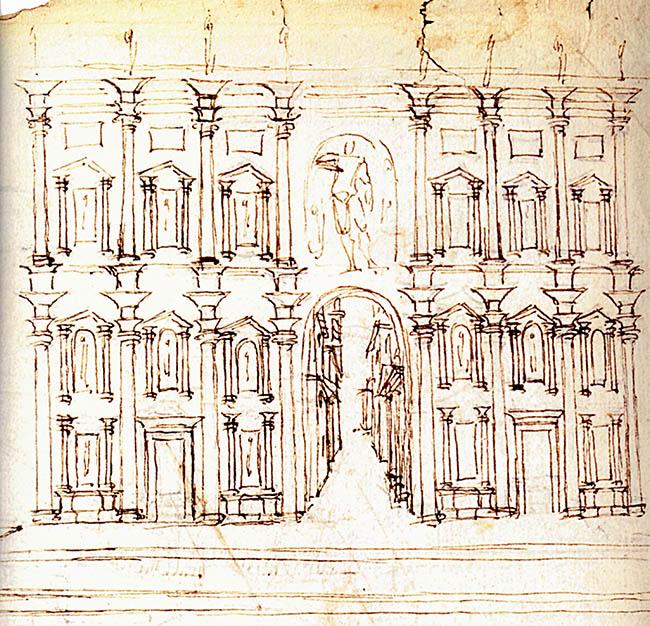 Andrea Palladio, studio del teatro romano descritto da Vitruvio