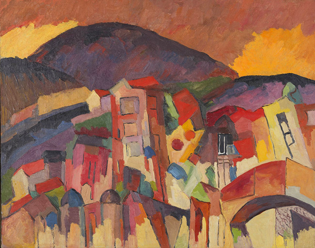 Aristach Lentulov, The Village of Kislolwosk, 1919