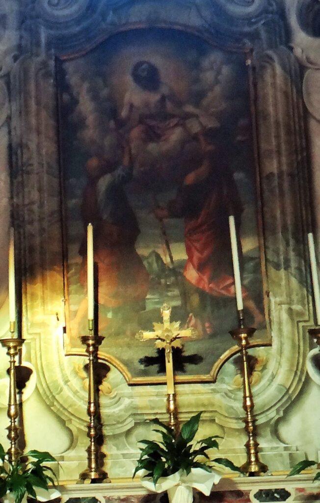 Moretto, Gesù in gloria consegna le chiavi a san Pietro e il libro della dottrina a san Paolo, 1540 circa, cappella di San Pietro