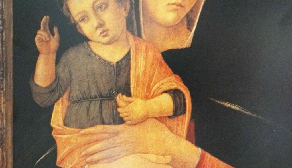 Giovanni Bellini, Madonna del pollice, (particolare), tempera e tecnica mista, tavola di abete, 79x63cm, Venezia, Gallerie dell'Accademia