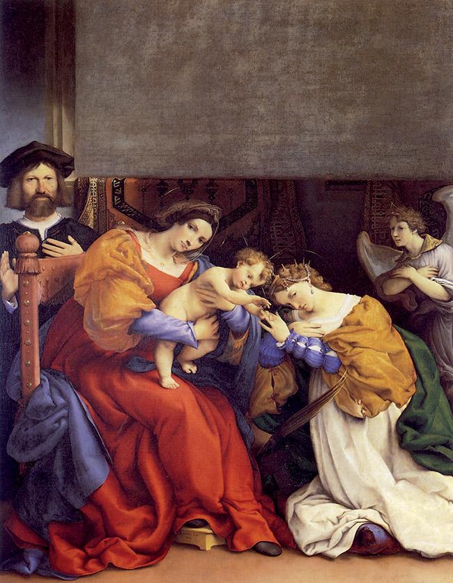 Lorenzo Lotto, Matrimonio mistico di santa Caterina e il donatore Nicolò Bonghi, 1523. Nella parte superiore, il rettangolo tagliato da un soldato francese nel 1527