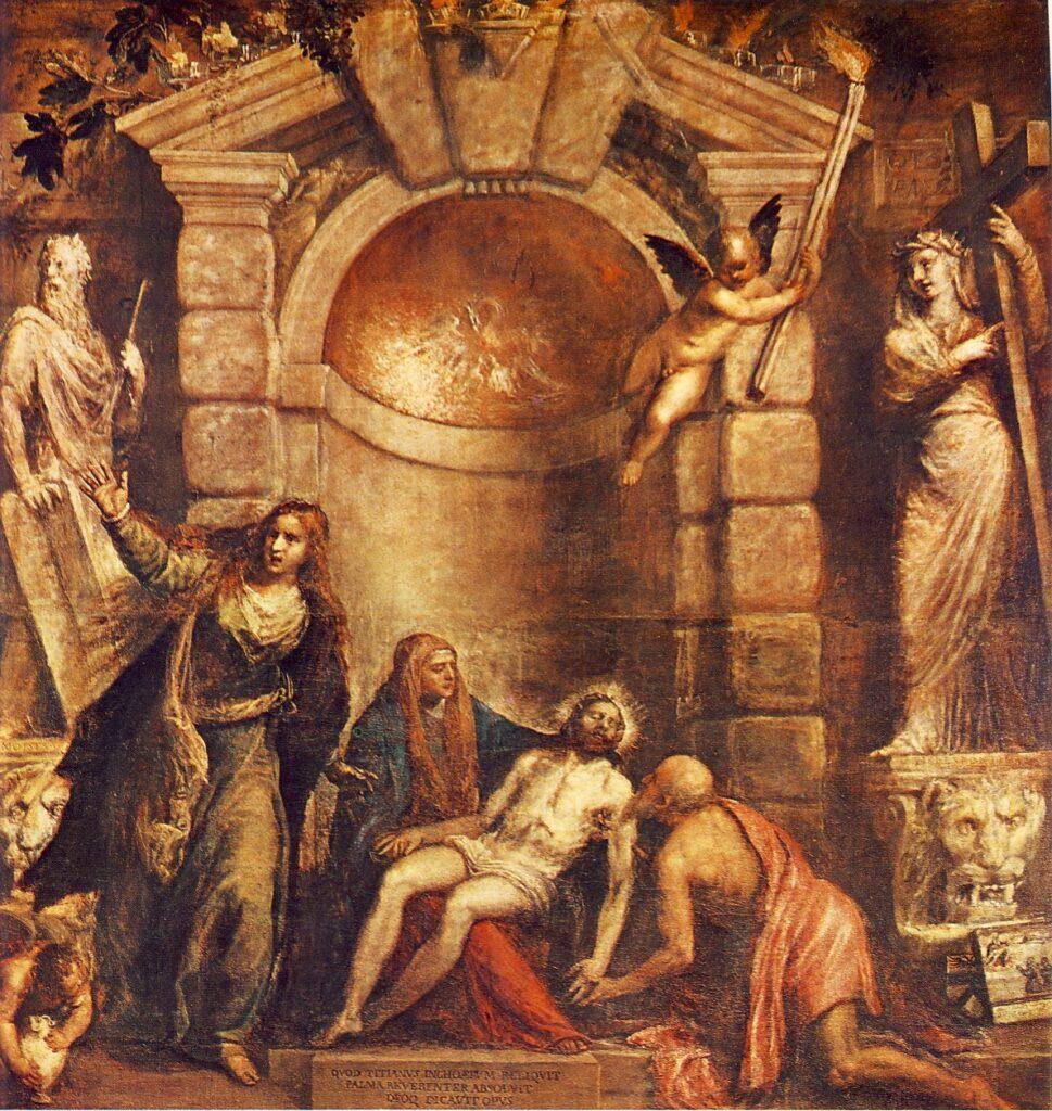 TIZIANO VECELLIO, La Pietà, 1570-76, olio su tela, 315 x 389 cm, Venezia, Galleria dell'Accademia