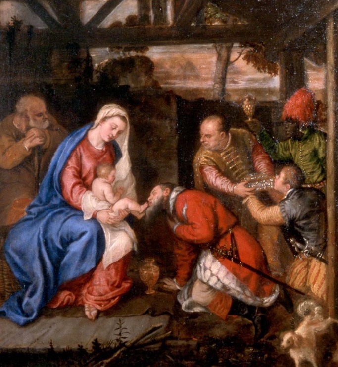 L'adorazione dei pastori di Tiziano Vecellio, in cui appare il cane che orina. Sotto: lo stesso quadro, prima del restauro. Il cane era stato fatto coprire dall'entourage di San Carlo Borromeo.