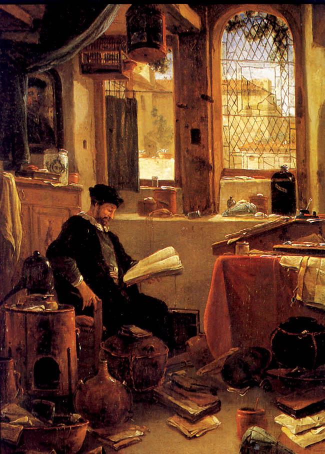 Thomas Wych, Alchimista  nel suo laboratorio, particolare