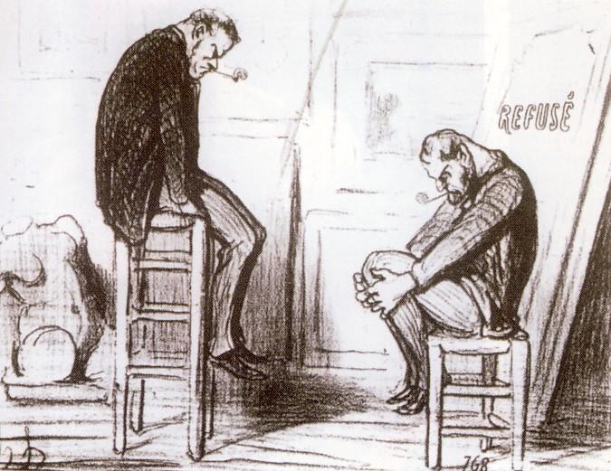 """I """"refusés"""", gli esclusi dal Salon ufficiale, secondo Honoré Doumier. Questo il titolo della """"vignetta"""": """"Rifiutato. Veduta di un atelier alcuni giorni prima dell'inaugurazione della mostra."""