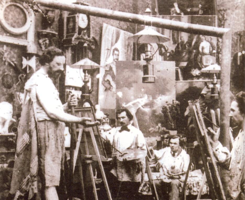 Giovani artisti all'opera all'Académie Julian di Parigi, sorta nel 1868 e frequentata da molti dei protagonisti delle Avanguardie di fine Ottocento, tra cui i Nabis e i Fauves