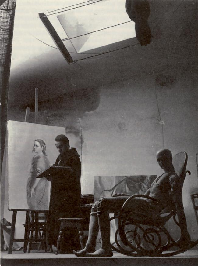 Un' immagine di Annigoni nel suo studio