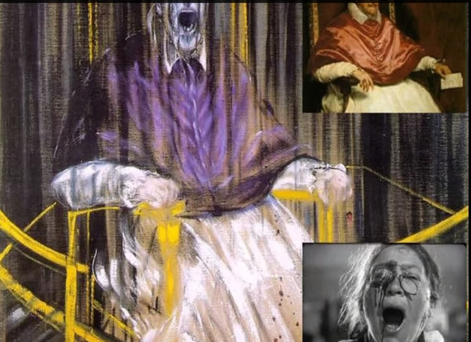 Il dominio di Innocenzo X, nell'ambito del ritratto che fu dipinto da Velazquez, citato da Francis Bacon nel proprio dipinto, si trasforma qui in caduta nel vuoto e in urlo. Lo stesso Papa non solo dubita di tutto, ma si apre alla disperazione. Oltre a citare Velazquez, maestro della divina compostezza dell'uomo, Bacon ricorda l'urlo di Munch, ma attraverso il grido di un'anziana donna, nel fotogramma tratto dal film La Corazzata Potemkin. Il volto del papa dipinto soltanto a metà e la delineazione di strisce verticali conferiscono alla figura un senso di caduta nel vuoto