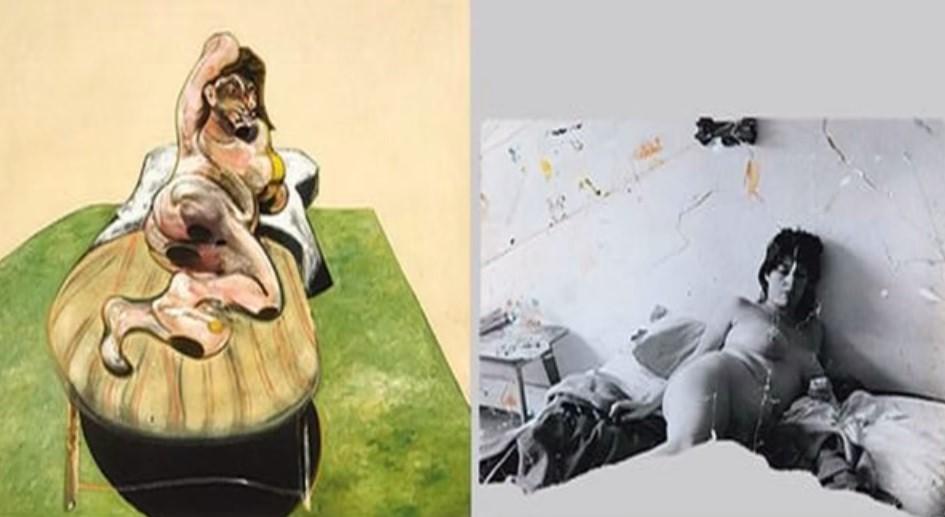 La fotografia viene sottoposta a tagli e lacerazioni, prima di divenire matrice dell'opera pittorica