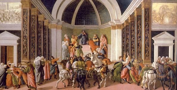 SANDRO BOTTICELLI, Storie di Virginia, 1490-1500, tempera su tavola, 86 x 165 cm, Bergamo, Accademia Carrara