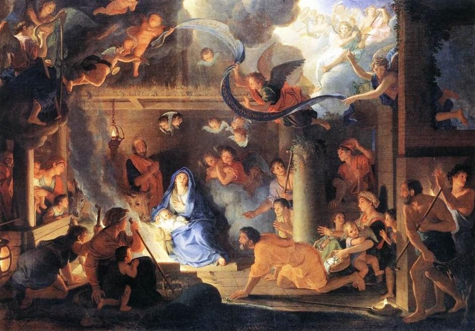 Charles Le Brun, Adorazione dei pastori, 1689, olio su tela, 151x215, Parigi, Museo del Louvre