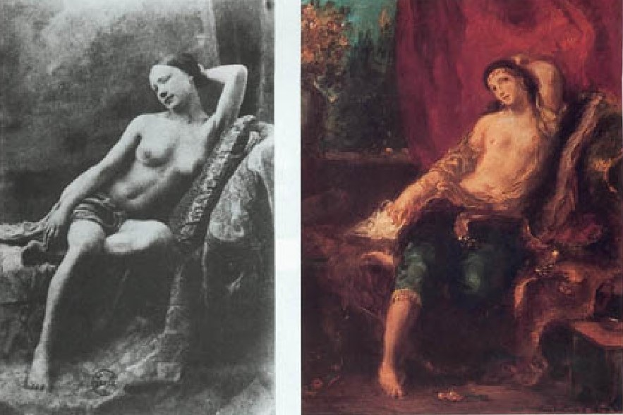 Eugene Delacroix commissionava fotografie di nudo per utilizzarle come soggetti per i suoi dipinti. L'Odalisca del 1857, come altre opere, nasce dal connfronto con un'immagine fotografica